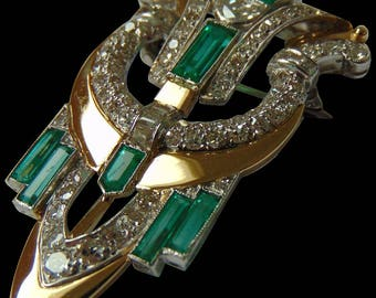 Art Deco Cartier Emerald & Diamond Brooch