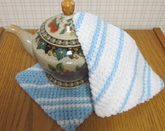 Crochet Potholder Blue and White - Set of 2 Potholders/Trivet