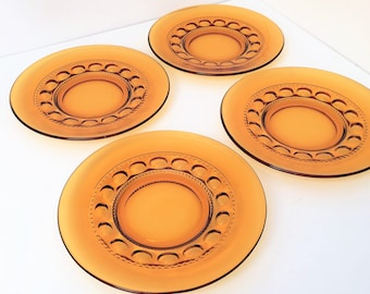 Vintage Indiana Glass Kings Crown Set Of 4 Salad Luncheon Plates