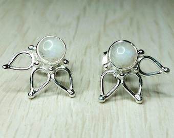 Moonstone Lotus Solid Sterling Silver Earrings