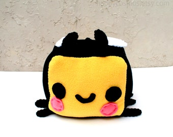 Bee Plush - Kawaii Plush, Stuffed Animal, Bumblebee Softie, Children's Toy, Decorative Pillow, Christmas Plush, His and Hers Gift