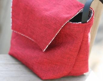 Crossbody Handmade Red Fabric Bag, Linen + Polyester Crossbody Shoulder Bag, Shoulder Bag, Handmade Gift , Red Shoulder Bag,