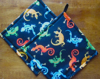 Bright Colorful Geckos on Black Pot Holders Set of Two Quiltsy Handmade