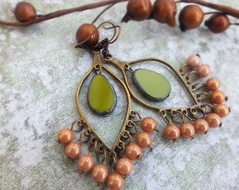 Boho earrings Chandelier Earrings Olive green Earrings Teardrop earrings Gypsy earrings Boho Brass Earrings Rustic Dangle Earrings