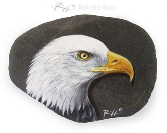 Original Bald Eagle's Head Painted on A Flat Sea Rock | An Original Artistic Paperweight for Nature Lovers