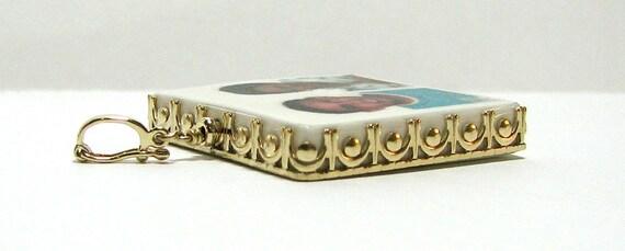 14K Gold Framed Bridal Bouquet Memorial Charm - Large Photo Pendant - FP1G