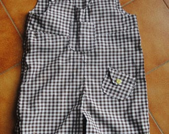 Brown and white gingham Pocket overalls
