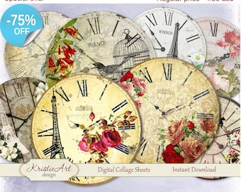 75% OFF SALE Flower Clock - Digital Collage Sheet - Digital cards C064 printable download tags digital vintage clock round image atc card