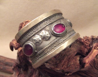 Tribal silver cuff bracelet -- antique jewelry - dark red glass stones -- heavy Patina  FREE SHIPPING SALE