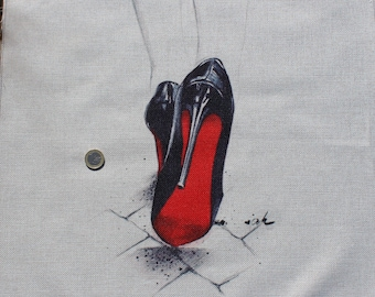 Fabric linen and cotton red sole shoe