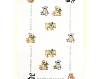 Teddy Bear Baby Afghan Kit Includes Cloth Floss Need and Graph Easy To Follow Instructions Baby Shower Size 29 by 43