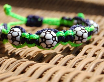 Navy and Lime Green Soccer bracelet - More cord colors and sports theme options available