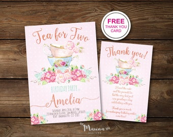 Tea for Two, Birthday Invitation Girl, Second Birthday Invitations, 2nd Bday Invite, Instant Digital Download, Printable, Party, Floral,Pink
