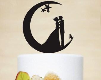 Wedding Cake Topper, Moon and Stars Cake Topper,Acrylic Cake Topper,Bride and Groom Silhouette,Custom Cake Topper P151