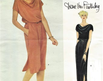1970s  Diane Von Furstenberg Womens Pullover Grecian Style Dress Day or Evening Vogue Sewing Pattern 2333 Size 12 Bust 34 FF