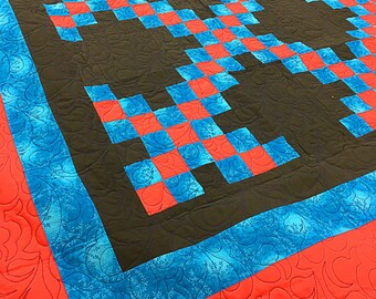 Masculine multi color Irish Chain patchwork FINISHED QUILT - Feather Quilting