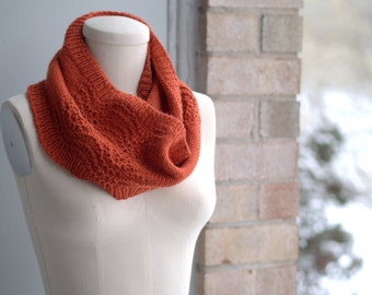 Hand Knitting Pattern for Avion Adult Matching Seamless Lacy Cowls and Long Mitts
