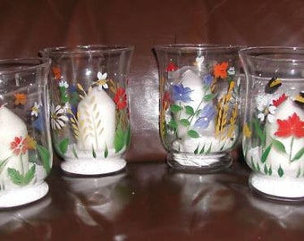Set 4 Glass Candle Holder Candle Votive Hand Painted Folk Art Unique Floral Vintage Mint