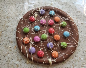 Belgian milk chocolate pizza with smarties and white chocolate
