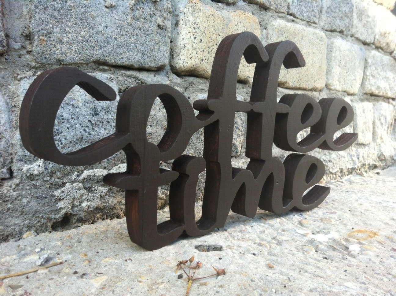 Coffee Sign Home Decor COFFEE TIME Wood Script