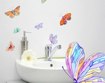 Butterfly Wall Decals 9-Set, Bathroom Decor, Decals for Furniture, Tiles, Wall Decor, Hand-Painted Bathroom Decals,