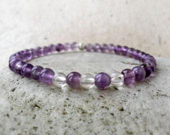 Amethyst Bracelet, February Birthstone Gift, Stacking Bracelet, Minimalist Bracelet, Purple Gemstone Bracelet, Crown Chakra Bracelet