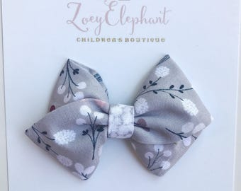 Baby Headband, Grey Floral Fabric Bow, Fabric Bow Hair Clip, Girl Hair Clip, Nylon Headband, Girl Headband, Baby Shower Gift