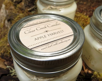 Three.. Hand Poured.. Mason Jar Soy Candles.. 8 oz.  Highly fragrant (set of 3) candle.. each in a gift box. Your Choice of Scents!