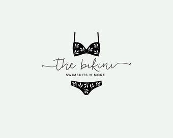 Bikini logo - Swimsuit logo design - swimsuit shop logo - Premade logo - Affordable logo - Cute logo design - Turquoise and coral pink
