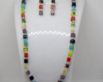 Beautiful Italian Millefiori Cubed Necklace and bracelet Set with Magnetic Clasp