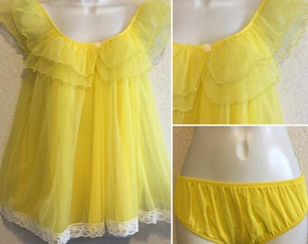 Intime' Vintage 1960s Canary Yellow Babydoll Nightgown & Panties Set ~ Small