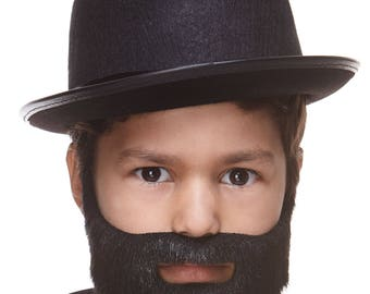 High quality Small Short Boxed black lustrous fake beard, self adhesive (S155-SE)