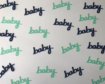 Navy and Mint Baby Confetti - Navy & Mint Baby Shower - Navy and Mint Decorations - Boy Baby Shower - Baby Confetti - Word Confetti