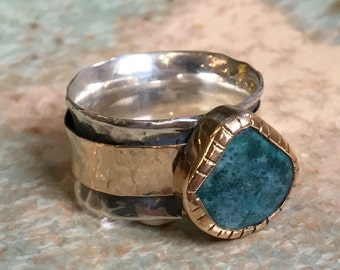 Meditation Ring, silver gold band, apatite ring, spinner ring, wide silver ring, wedding engagement ring - Dance Into The Light - R2440