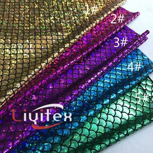 1 Yard Mermaid Fabric,Dragon Scale Spandex Fabric,Hologram Fish Scale Stretch Fabric,Foil Print Fabric,5 Colors for Choose