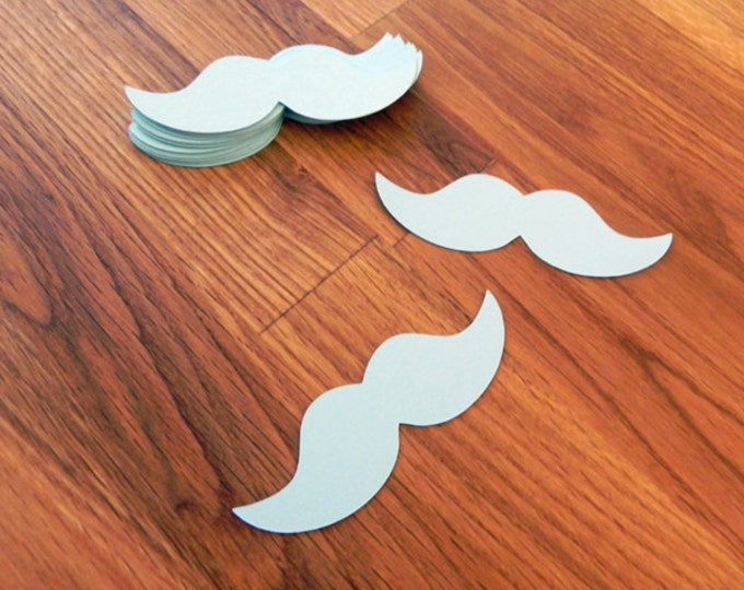 Die Cut Blue Mustaches (25+) - photo prop party decoration punch cutout card stock