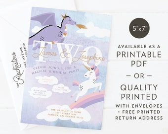"Magical Unicorn + Dragon | Birthday Party or Baby Shower Invitation | Custom Design | Printable PDF or Quality Printed | A7 5""x7"""