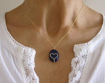 Natural blue lapis lazuli gemstone with HEART design yellow gold necklace, Chakra, Healing stone/jewelry