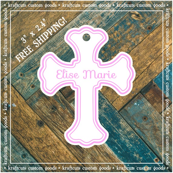 Baptism, Christening or First Communion Religious Cross Favor Tags - Baby Girl Pink #200P FREE SHIPPING!