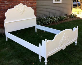 Shabby Chic Full Size Rose Embellished Bed Painted Creamy White, Lightly Distressed, 1920s Square Bottom Bed