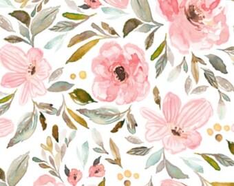Bio Mädchen Krippe Bettwäsche - Rosa grün Baby Bettwäsche Wickelunterlage Cover / Kinderbett Spannbettlaken / Blumen Kinderzimmer Bettwäsche / Mini Krippe Blätter