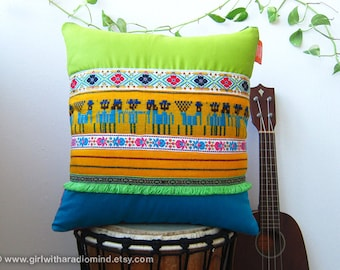 Mexican Pillow Tribal Pillow - Lime Turquoise Blue Yellow Cushion - Village Men Geometric Motif