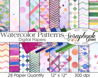 """Watercolor patterns Digital Papers, 28 Pieces, 12"""" x 12"""", High Quality JPEG files, Instant Download Commercial Scrapbook colorful rainbow"""