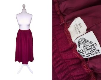 70's Wool Midi Skirt   1970's Vintage Skirt   Plum Red Soft Wool Winter Skirt