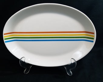 "Vintage Syracuse China 10 1/2"" Oval Platter Spectrum Pattern Priced per Piece"