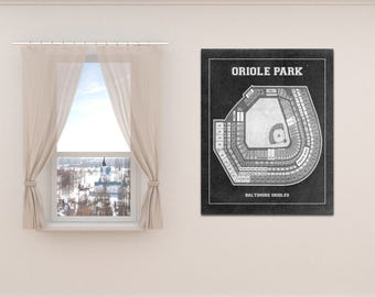 Print of Vintage Baltimore Orioles Park Baseball Seating Chart on Photo Paper, Matte paper or Stretched Canvas