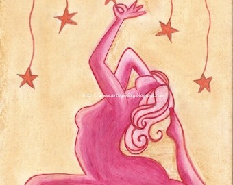Reach For The Stars -8.5x11 ORIGINAL Chalk Pastel and Pencil Drawing