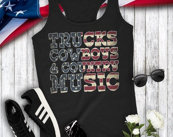 Trucks Cowboys and Country Music Women's Racerback Tank Top Concert Party Music Cowgirl Boots Top