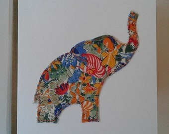 Original Textile Art Hand Made Elephant Greetings Card