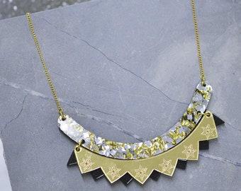 Colour pop bib necklace - black & gold